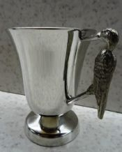 Pewter Christening Cup with Stork Handle
